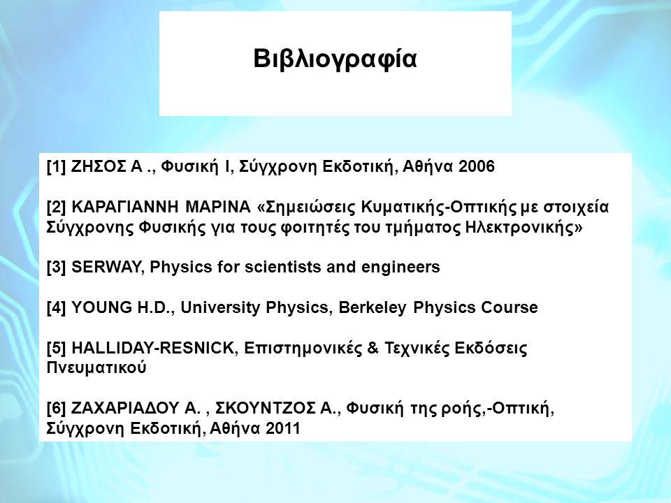 Βιβλιογραφία [1] ΖΗΣΟΣ A ., Φυσική Ι, Σύγχρονη Εκδοτική, Αθήνα 2006